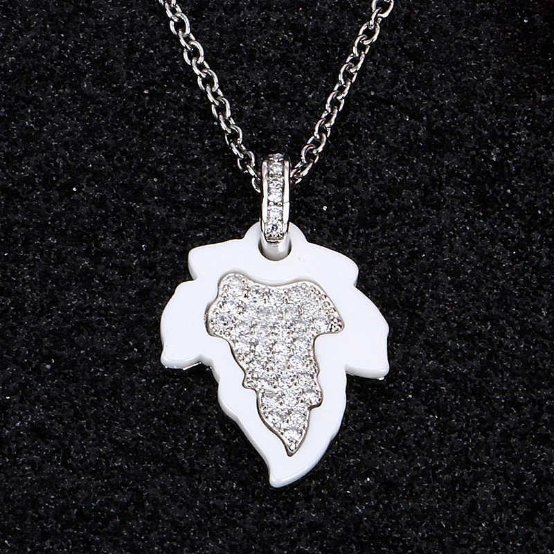 2017 أسود أبيض ورقة قلادة لامعة حجر الراين اليدوية السيراميك قلادة مجوهرات اكسسوارات كندا مابل ليف قلادة قلادة