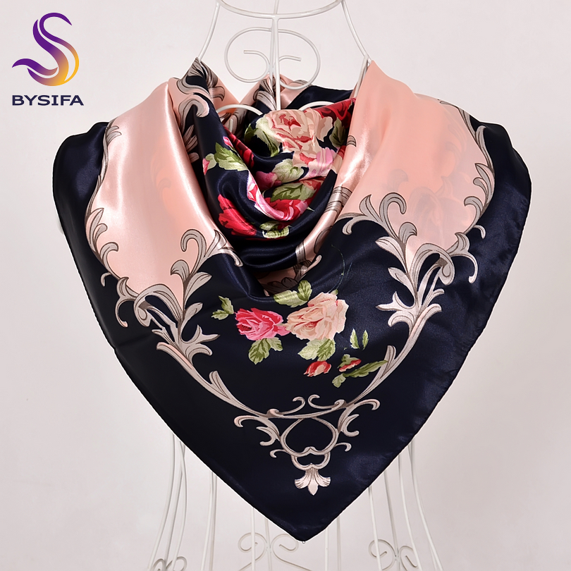 bysifa Plaid Silk Scarf Lenco 2019 New Brand Men Women Head Scarf Spring Autumn Foulard Femme Neck Scarves Blue Black Pink Red Useful