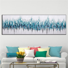 Hand Painted Blue Modern Art painting abstract canvas picture modern Oil Painting on Canvas Living Room lbig size Wall art