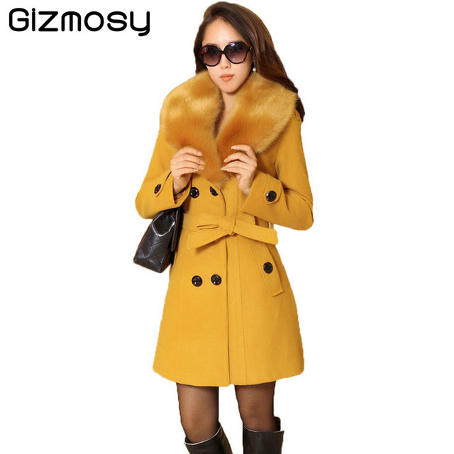 Plus Size M-5XL Winter Coat Women 2017 New Slim Large Fur Collar Double-Breasted Wool Coat Warm Blended Cotton Outwear BN1231