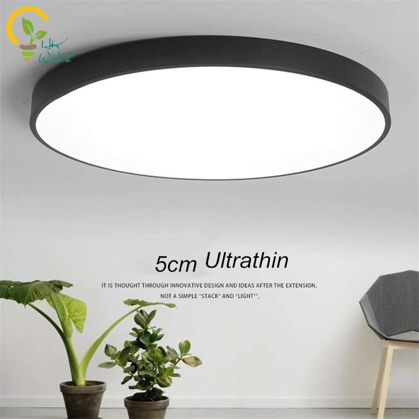 Rc dimmable ultrathin 5cm led ceiling lamp living room for Led deckenleuchte modern