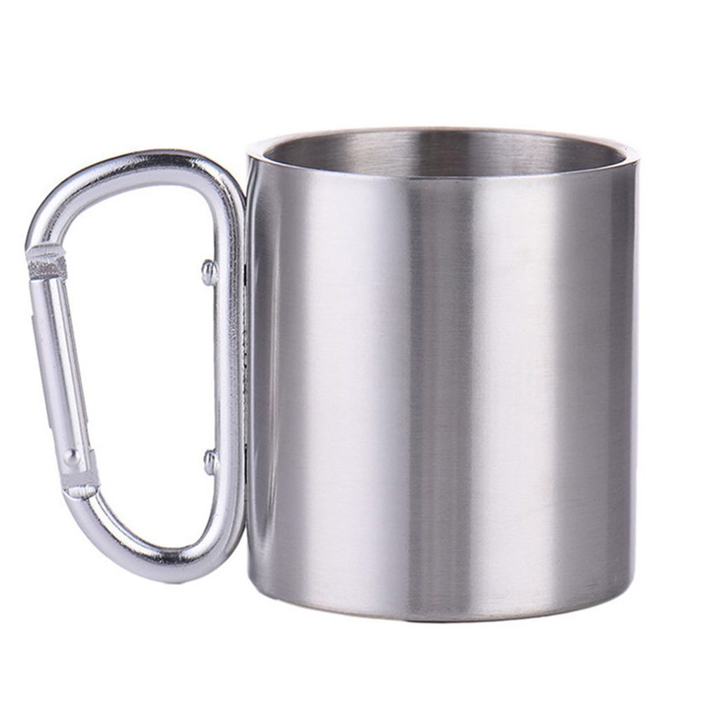 300ml Outdoor Stainless Steel Water Tea Coffee Mug Self Lock Carabiner Handle Cup For Camping Hiking Climbing Portable