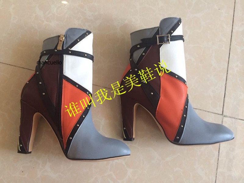 Stylish Style Color Patchwork PU Leather Block Heels Short Boots Pretty Women Buckle Chunky Heel Ankle Boots Round Toe Zip Shoes кукольный театр для двоих