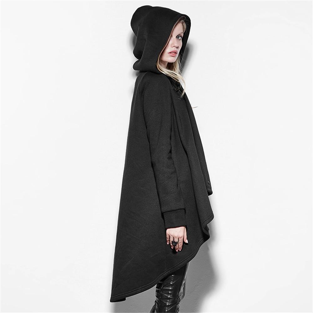 Punk Hoodies Boucle De Vêtements Outwear Noir D'hiver Avec Personnalité Long Irrégulière Rétro Nouvelle Capuche Cuir Manteau Femmes En Coton YrwgOY