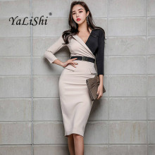 83382d83c3f12 Plus Size Patchwork Pencil Dress 2019 Spring Women Khaki Long Sleeve V-neck  Knee-