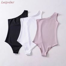 Laipelar 2018 New Basic One Shoulder Bodysuit Rib Knit Elegant Women Sexy Spring Bodysuits Fashion Skinny Bodysuit rib knit cami bodysuit