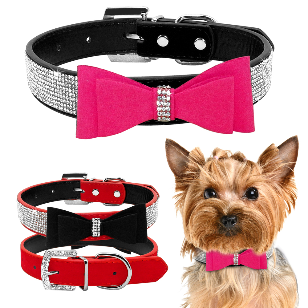 Rhinestone Dog Collar Leather Pet Collar för Små Hundar Rosa Rosa - Produkter för djur