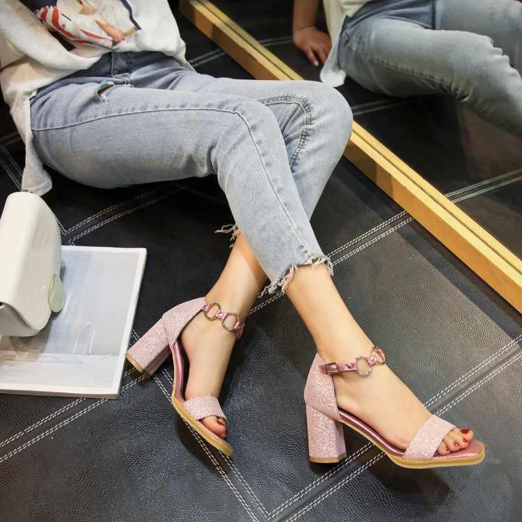 Große Größe High heels sandalen frauen schuhe frau sommer damen Pailletten hochhackigen sandalen mit dicken absätzen