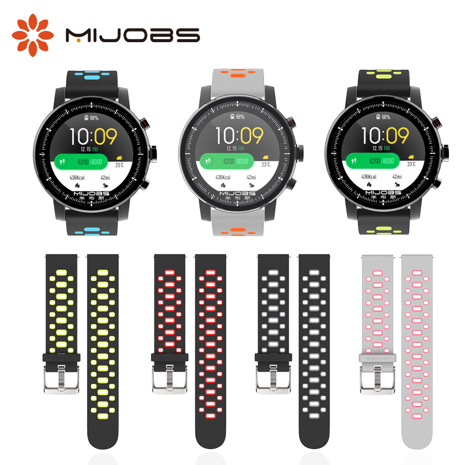 Mijobs 22mm Silicone Wrist Strap Bracelet for Xiaomi Huami <font><b>Amazfit</b></font> Bip PACE <font><b>BIT</b></font> Stratos <font><b>2</b></font> Sport Watch Band Wristband Accessories image