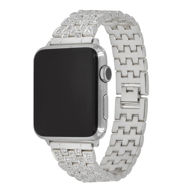 Applicable For Apple Watch Strap 4 Generations Five Piece Rhinestone Stainless Steel Metal Strap Applicable For Apple Watch4 in Watchbands from Watches