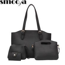 35a80f611e SMOOZA femmes 4 pièces/ensemble Rivet sac à main dame sacs à bandoulière  sacs à main pochettes Mini porte-monnaie femme Pu cuir .