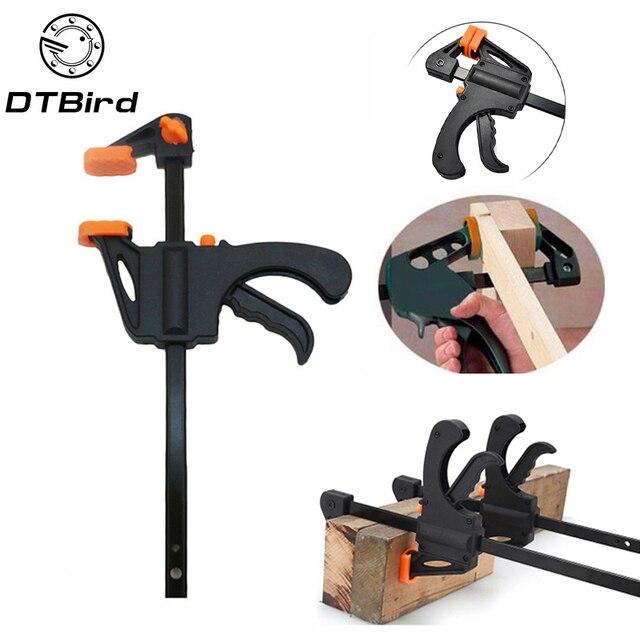 """4 """"אינץ F נגרות מהדק מהדק מכשיר מתכוונן DIY נגרות גאדג 'טים מהיר מחגר שחרור מהירות לסחוט יד כלים DT6"""