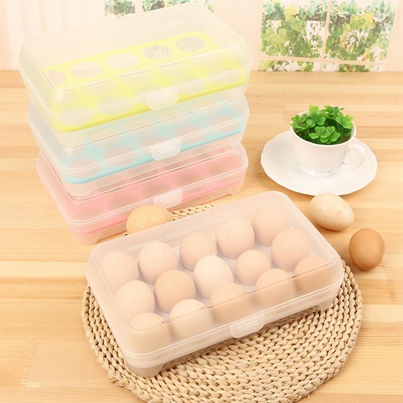 1 stücke Küche Kühlschrank 15 Grid Ei Aufbewahrungsbox Kunststoff Lebensmittelbehälter Halten Eier Frische Organizer Box B4