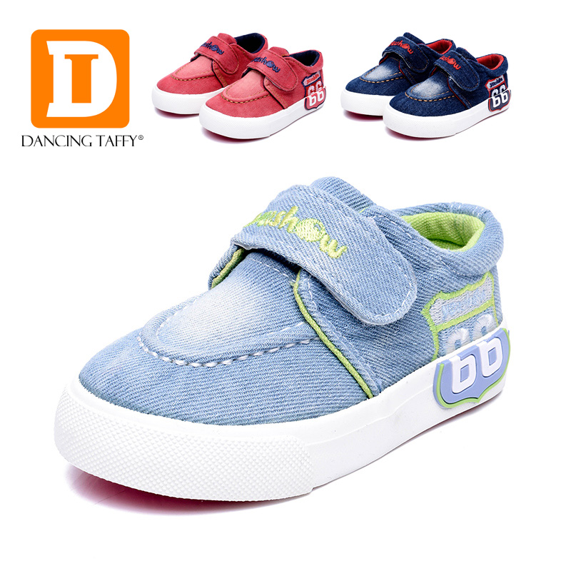 Solid Canvas Fashion Kids Shoes New 2016 Brand Board Girls Boys Sneakers Denim Baby Footwear Rubber Hook Loop Children Shoes