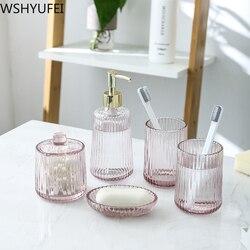 Nordic vetro di modo bagno set di lavaggio Luce di lusso coppia tazza Bagno bagno accessori per La Casa artigianato ornamenti WSHYUFEI