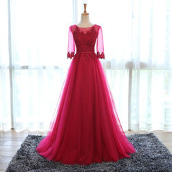 R14 free returns elegant wine colored evening dress with sleeves appliqued tulle prom dress 2016 long.jpg 250x250