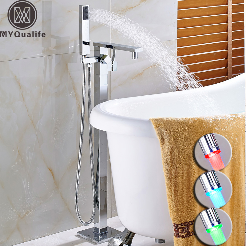 Luxury Bathroom Tub Sink Faucet Single Handle Free Standing Bathtub Mixer with Handshower Led Light Spout Hot and Cold Crane