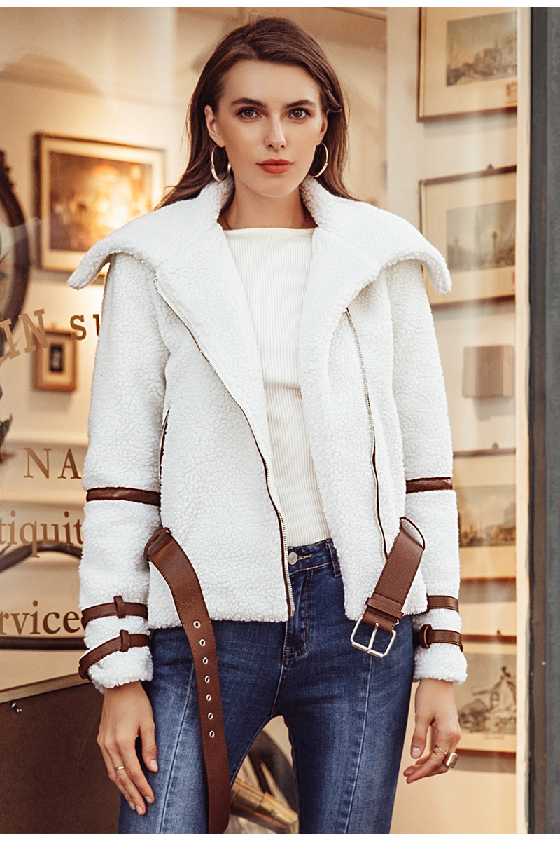 Simplee Turndown collar zipper winter women coat parka Sash shaggy white thick warm outerwear Winter down jacket streetwear 4