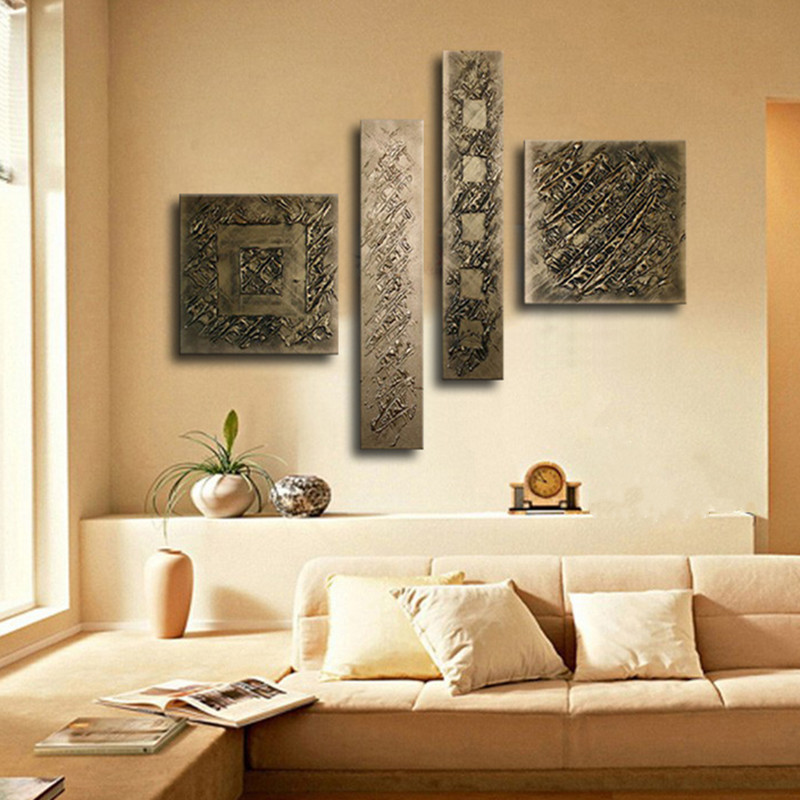 4 لوحة الصور مجموعات هاندبينتيد مجردة كتابات لوحات قماش النفط الطلاء اليدوية براون الرئيسية جدار الفن لغرفة المعيشة-في الرسم والخط من المنزل والحديقة على  مجموعة 2