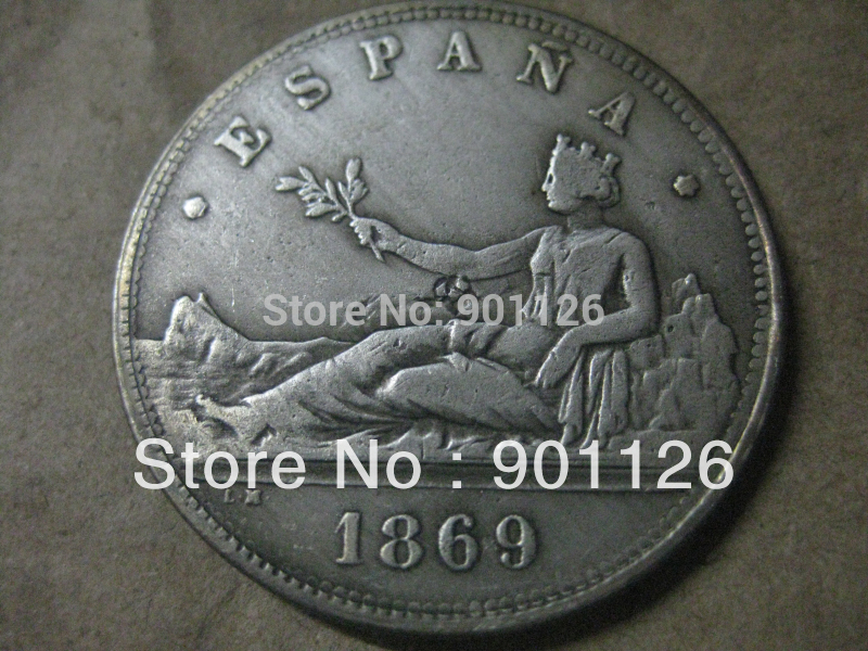 1869 Spain ESPANA 5 Pesetas Rare Coin Free Shipping Exact Copy