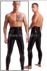 Высокая талия латексные брюки Узкие эластичные леггинсы для Для мужчин пикантные латексные брюки