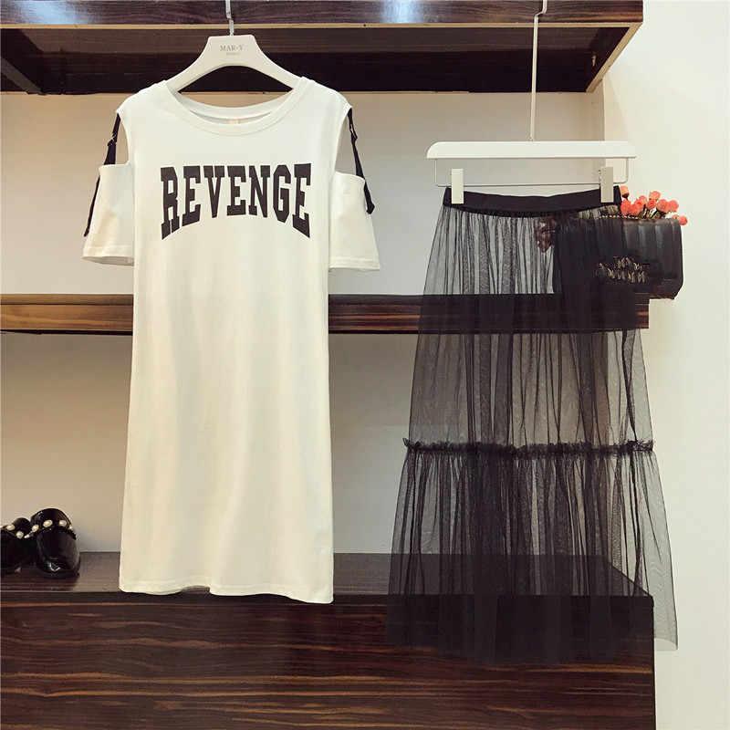 2 Piece set 2020 di Estate del Cotone delle Donne Senza Spalline T-Shirt + Maglia Vedere Attraverso Gonna Imposta Donne di Modo Fori cintura Gonne Abiti