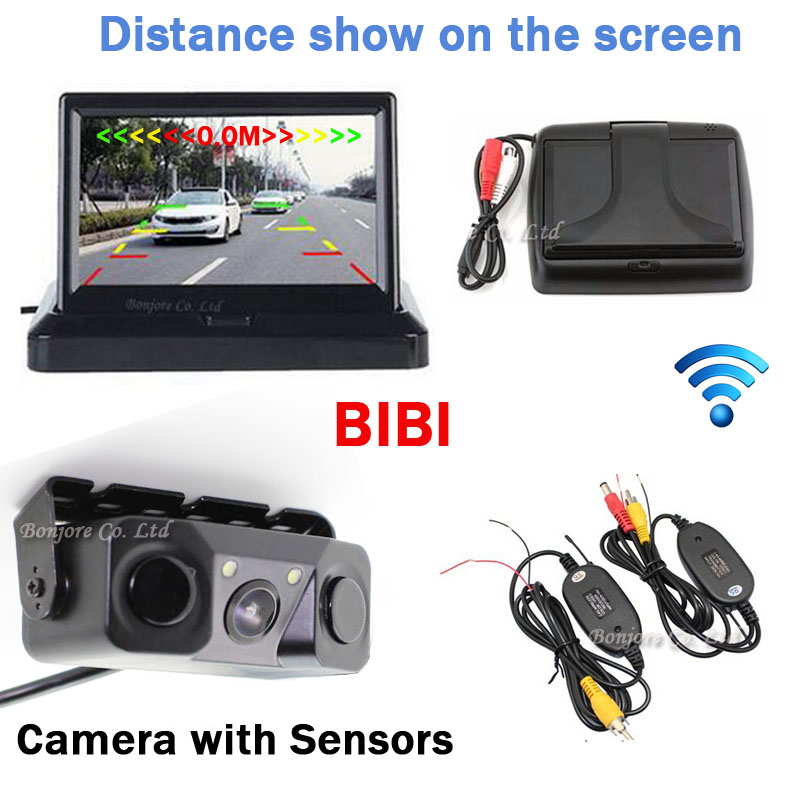 Car Parking sensors + Rearview Camera Back up Distance on 4.3 TFT LCD Monitor Screen Digital Screen Display Parking Assistance new lcd touch screen digitizer with frame assembly for lg google nexus 5 d820 d821 free shipping