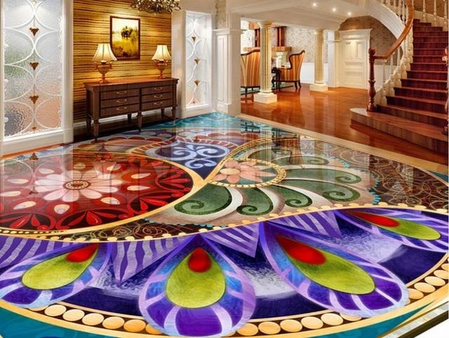 D personalizzato piano pittura bagno pavimenti in vinile d