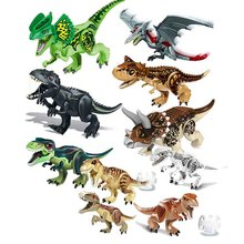 Sermoido Jurassic World Dinosaurs Tyrannosaurus Rex Pterosauria Triceratops Building Blocks Toys For Children Dinosaur