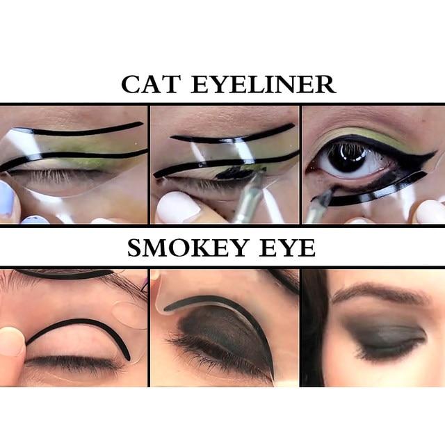Online Shop 6pcs 6 Styles Cat Eyesmokey Eye Makeup Eyeliner Stencil