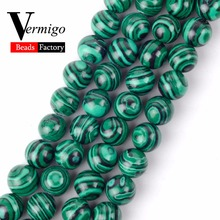 Synthesis Green Malachite Stone Beads For Needlework Jewelry Making Round Spacer 4 6 8 10 12MM Diy Bracelet Necklace 15