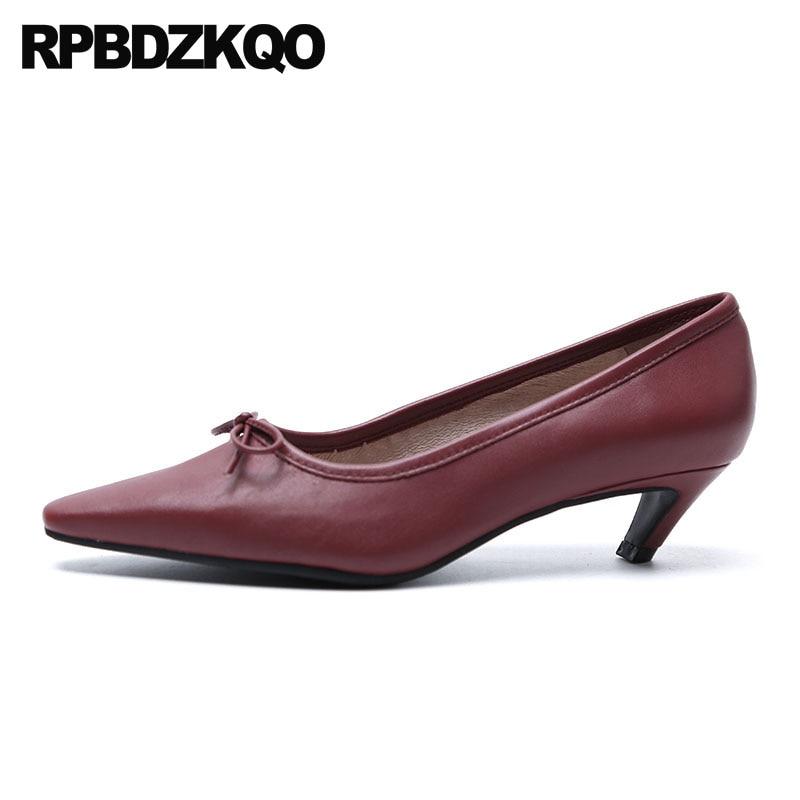 Bow Kitten Italian 2018 Genuine Leather Strange Pumps Wine Red Medium Heels Orange Shoes Women Famous Pointed Toe High Size 4 34