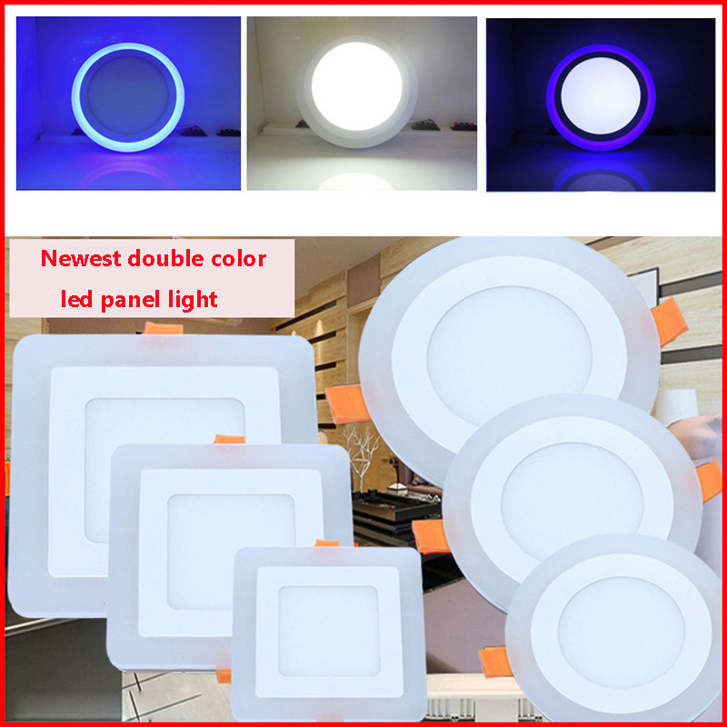 Double Color Home Kitchen Ceiling Lamp 6w 9w 16w 24w Panel Lights Recessed White Blue Modern Led For Living Room In Downlights From