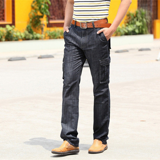 Male Loose Straight More pocket Jeans Men Autumn Cargo Blue denim Pants Winter Fashion Casual Bottoms overalls 110401