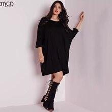 """MCO повседневное женское платье размера d """"летучая мышь"""" размера плюс, потрясающее легкое платье-туника, модная женская одежда большого размера 6XL 7XL"""