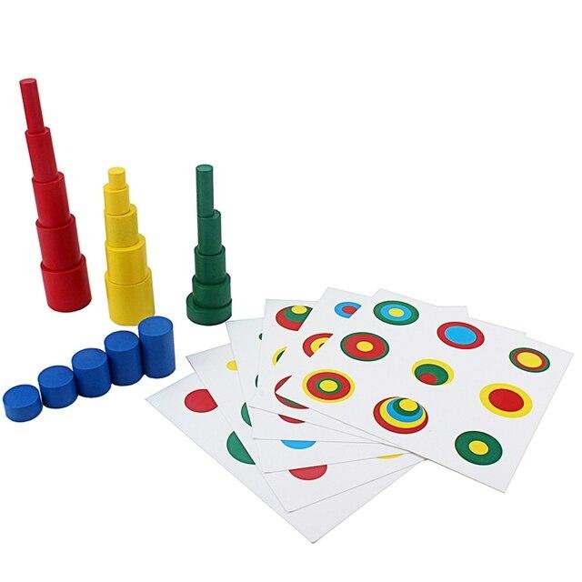 Montessori juguetes educativos colores formas 20 piezas bloques de cilindros de madera con 6 piezas tarjeta de soporte colorido Comparar el tamaño/Color tamaño pequeño