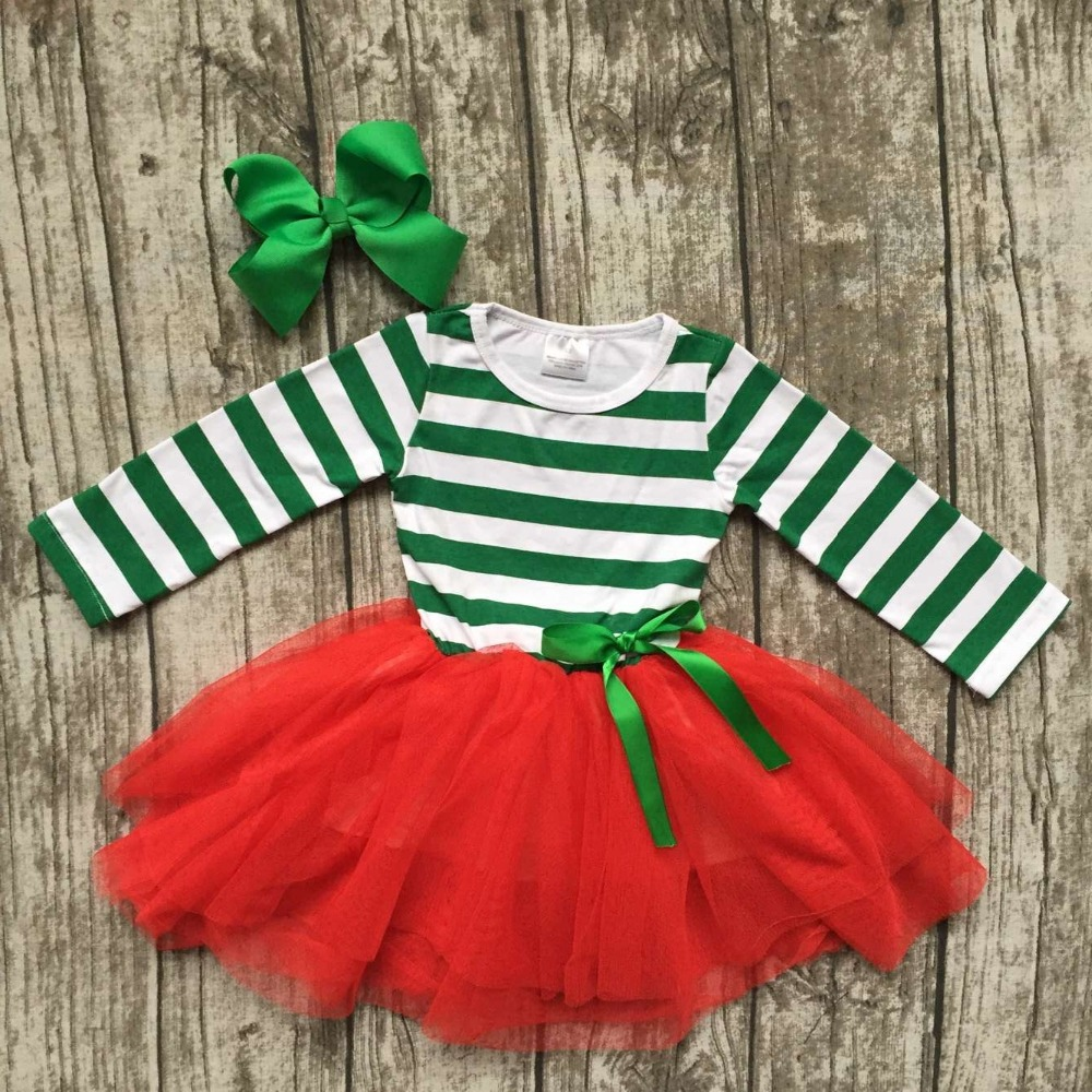 kids Christmas dress girls party dress baby girls santa green stripe dress with Christmas tree dress with matching bow