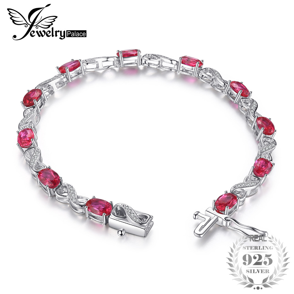 JewelryPalace Love Infinity 6.8ct Oval Creado Ruby Tennis Bracelet - Joyas
