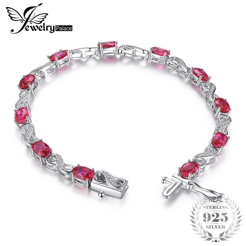SmyckenPalace Love Infinity 6.8ct Oval Skapad Ruby Tennis Armband 925 Sterling Silver Fashion Bröllop Smycken För Kvinnor Present