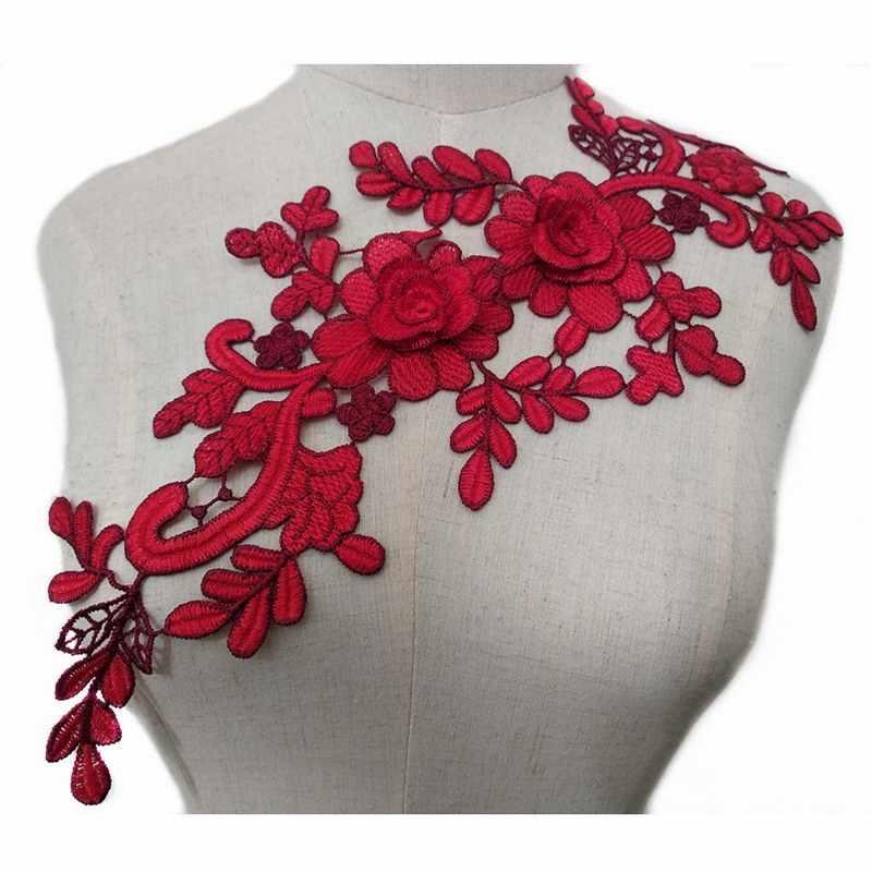 1 Pc レース生地カラフルな花刺繍アップリケトリム装飾レースネック襟縫製ウェディングドレススクラップブッキング