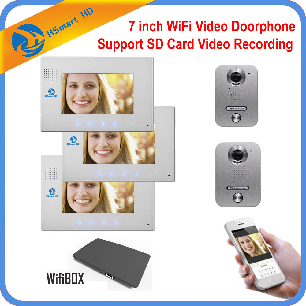 7 inch LCD Monitor Wireless WiFi Video Doorphone Metal Waterproof 700TVL HD Camera SD Card Video Record Doorbell Intercom System 7 inch video doorbell tft lcd hd screen wired video doorphone for villa one monitor with one metal outdoor unit rfid card panel