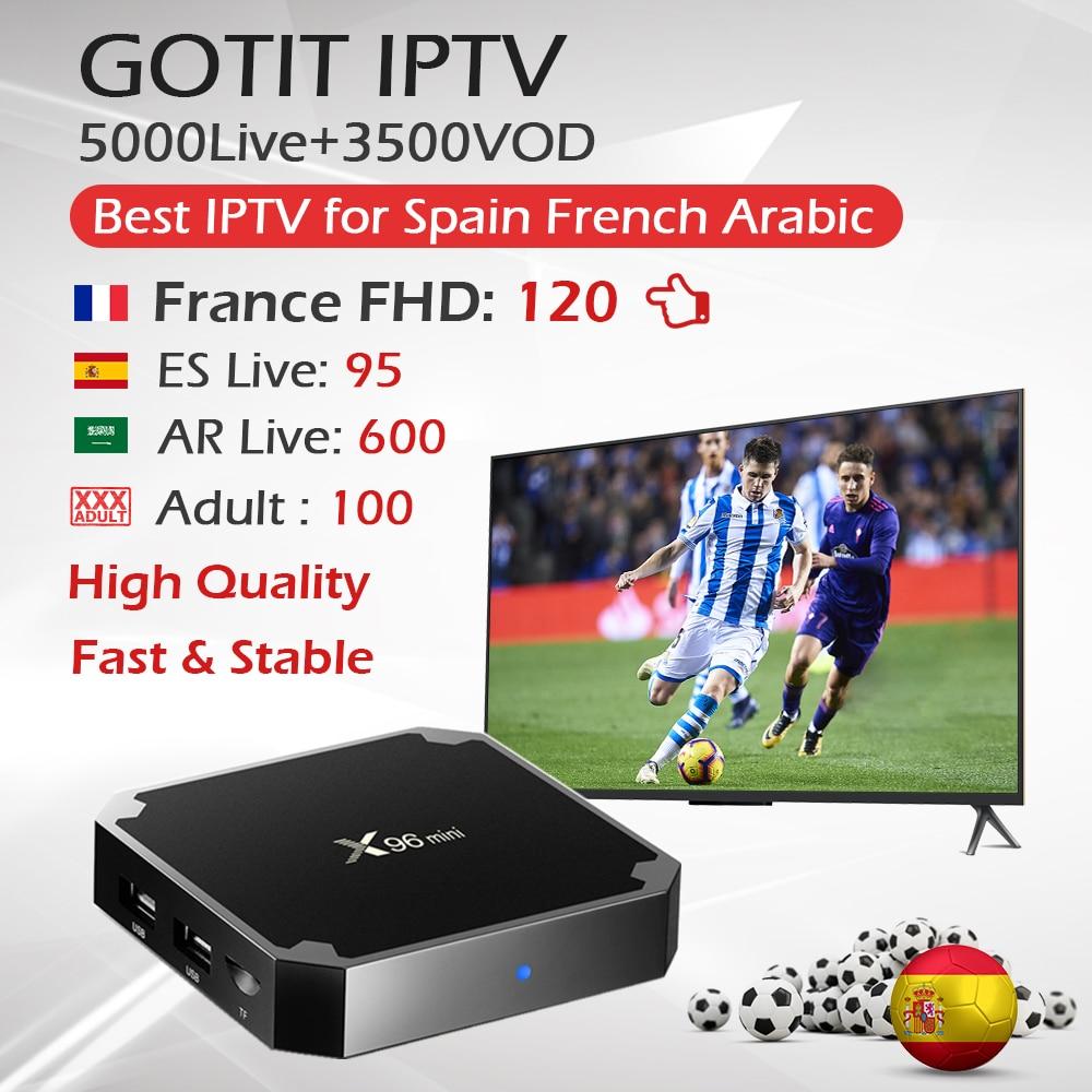 Android IPTV Box X96Mini 1G 8G 2G 16G 1 Year Arabic French IPTV Subscription KING OTT