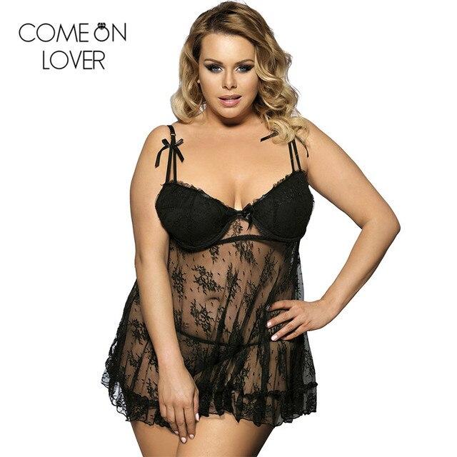 039681812 RL7728 Comeonlover Preto Ver Através de lingerie Nuisette Plus Size  Mulheres Pijamas Backless Lace Lingerie erótica