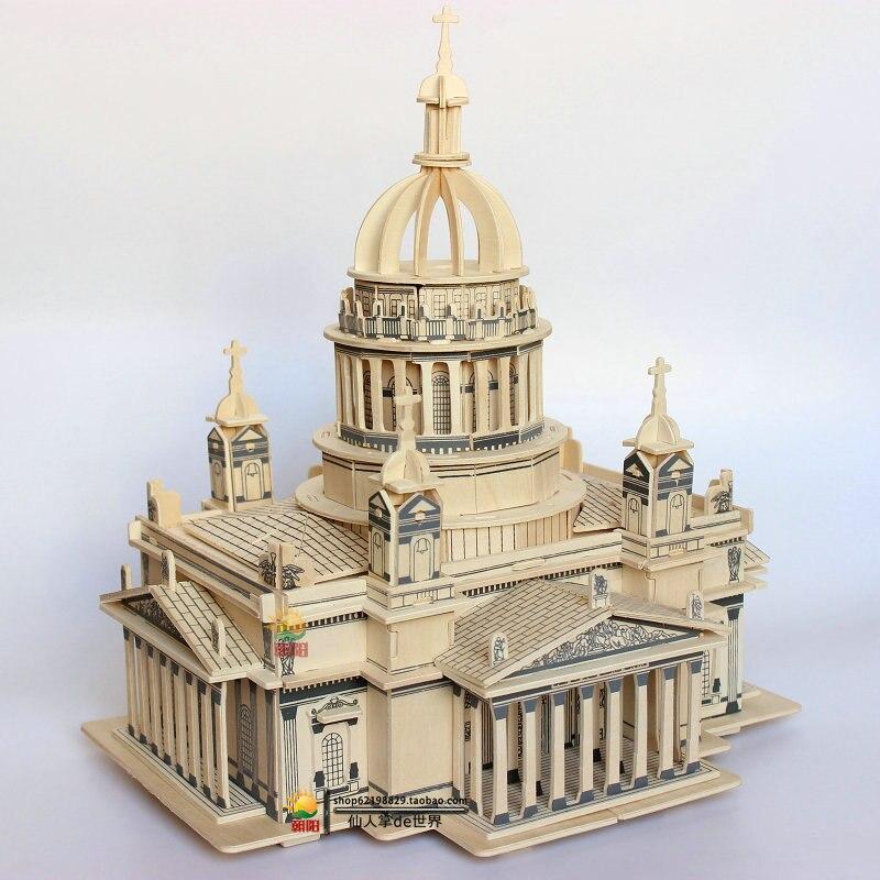 Isaquip cathédrale en bois 3D Puzzle modèle Architecture loisirs construction jouets adolescents adulte tour enfants bois jouet cadeau jeu