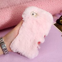 Girl Phone Case For Iphone 5S 5 SE Case Cover Luxury Warm Soft Rabbit Fur Phone