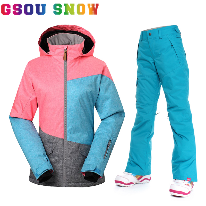 Gsou Snow Ski Suit Women Winter Snow Jacket and Pants Outdoor Female Thermal Snowboard Sets Waterproof 10K Breathable Sportswear gsou womens winter suit waterproof 10k breathable winter jacket pants women ski suit for mountain skiing and snowboarding sets