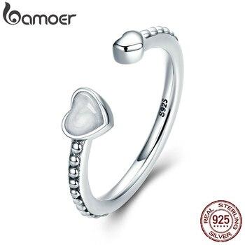 BAMOER 100% 925 Sterling Silber Doppel Herzen Der Liebe, Silber Emaille Open Finger Ringe für Frauen Engagement Schmuck SCR550