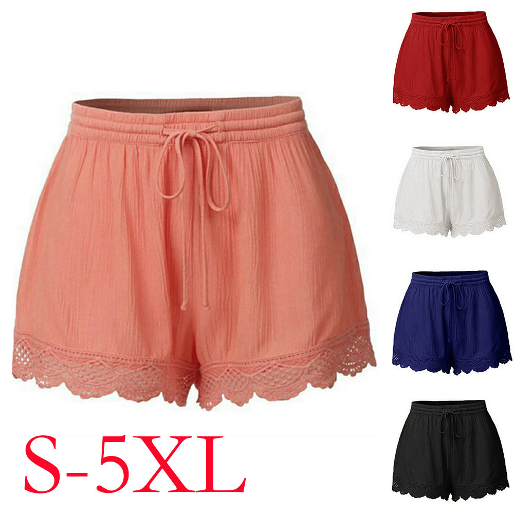 Womail Women   shorts   summer Fashion Lace Plus Size Rope Tie   Shorts   Skinny Sport Trousers Casual   shorts   denim color j23