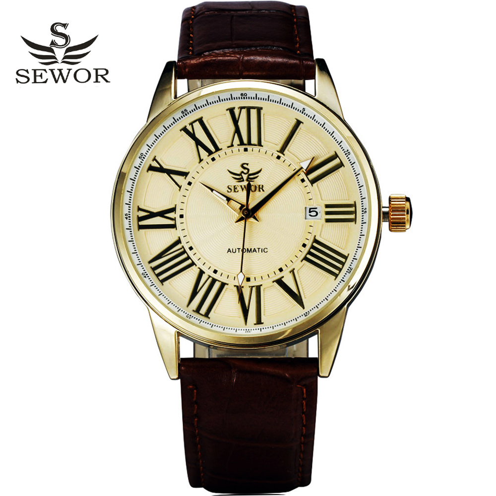 2016 new fashion SEWOR brand design business calendar clock men male automatic mechanical self wind leather wrist dress watch-in Mechanical Watches from Watches