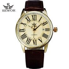 SEWOR Reloj de pulsera de cuero para hombre, reloj masculino con calendario de negocios, automático, mecánico